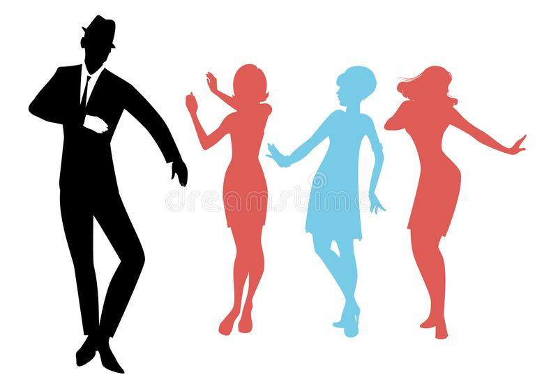Elegant silhouettes of people wearing clothes of the sixties dancing 60s style. Isolated on white background royalty free illustration