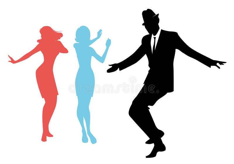 Elegant silhouettes of people wearing clothes of the sixties dancing 60s style. Isolated on white background vector illustration