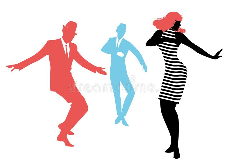 Elegant silhouettes of people wearing clothes of the sixties dancing 60s style. Isolated on white background stock illustration