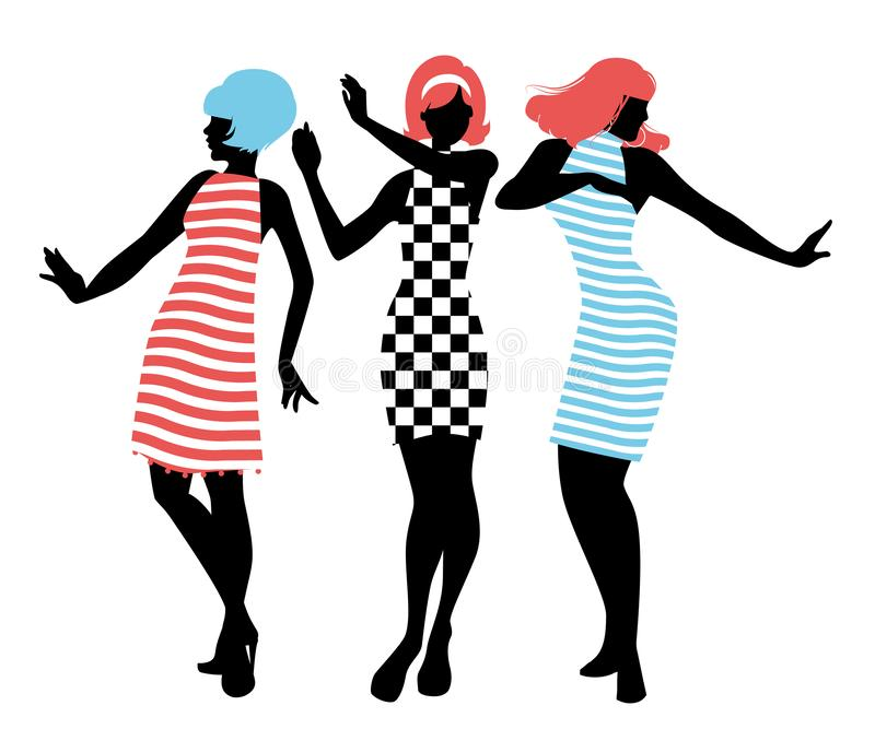 Elegant silhouettes of three girls wearing clothes of the sixties dancing 60s style. Isolated on white background royalty free illustration