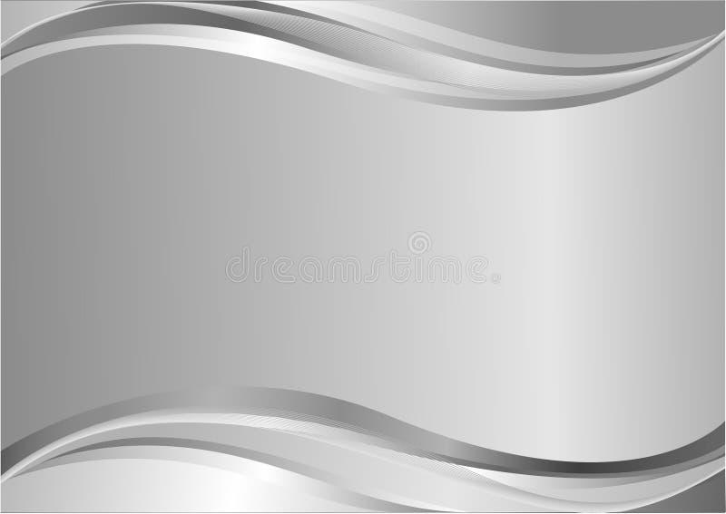 Elegant silver background with waves stock illustration