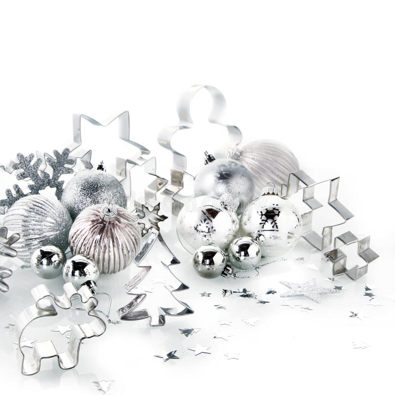 Elegant Silver and Glass Christmas Decorations stock photos