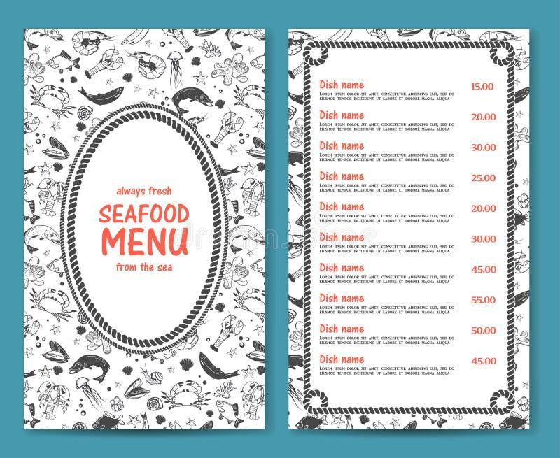 Elegant and simple seafood restaurant or cafe menu royalty free illustration
