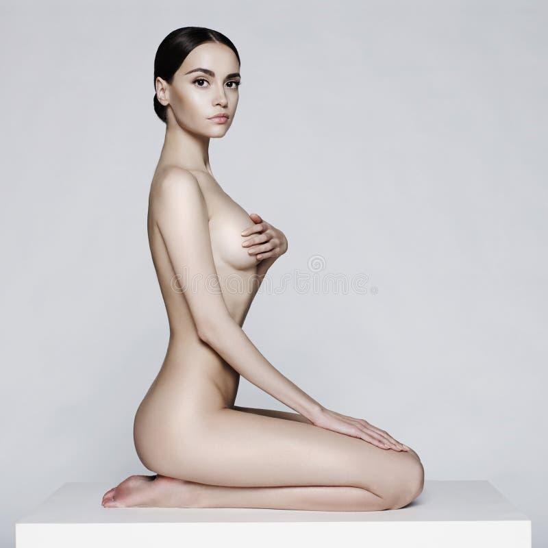 Elegant sitting lady stock photo
