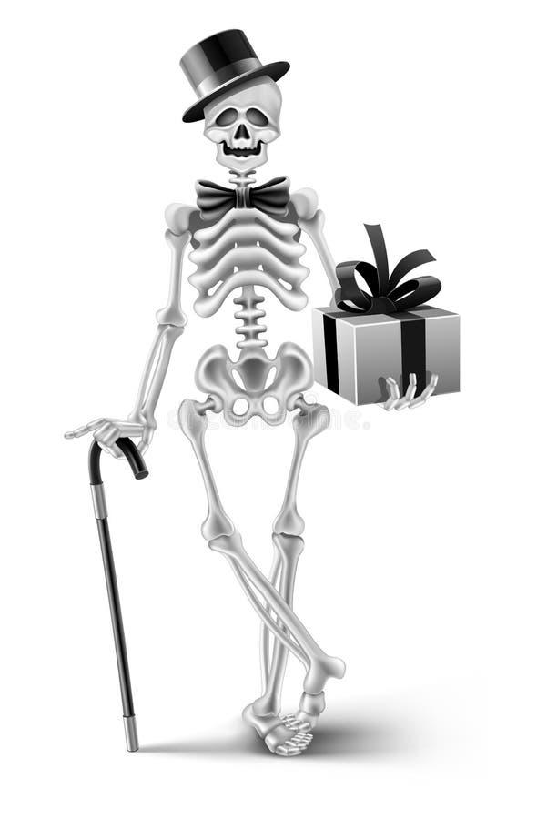 Elegant skeleton gentleman with a halloween gift