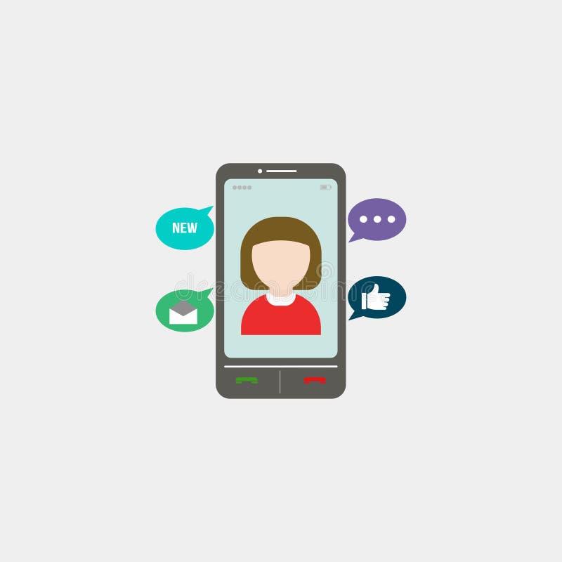 Elegant smartphone med färgrika skärmsymboler, applikationer Mobilen ringer också vektor för coreldrawillustration 10 eps royaltyfri illustrationer