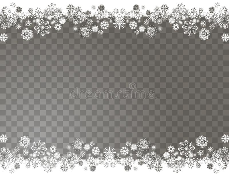 Elegant snow border on a transparent background. Abstract snowflakes background for your Merry Christmas and Happy New Year design vector illustration