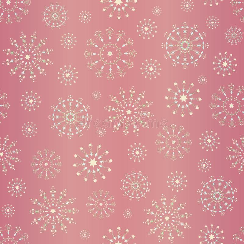 Elegant snowflakes Christmas design on soft pink gold foil background. Seamless vector pattern. For textiles, cards and royalty free illustration