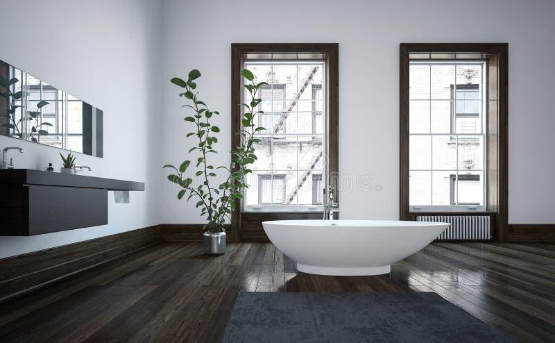 Elegant spacious modern bathroom interior stock illustration