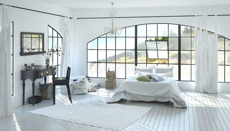 Elegant spacious white bedroom interior royalty free stock photo