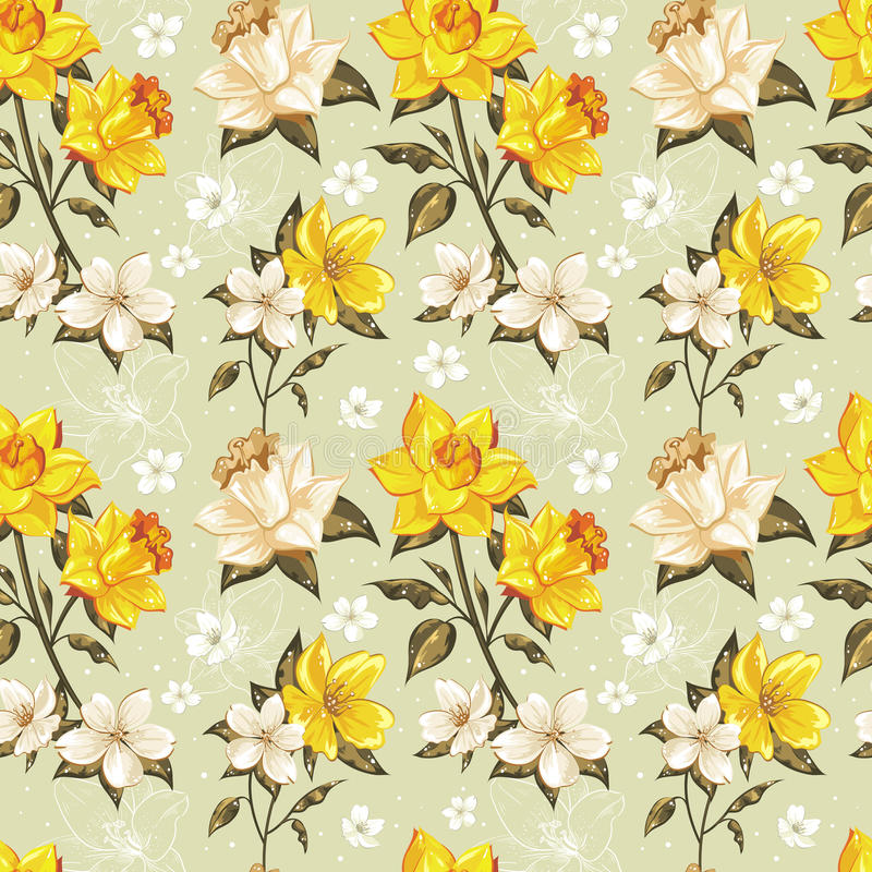 Elegant spring floral seamless pattern royalty free stock photography
