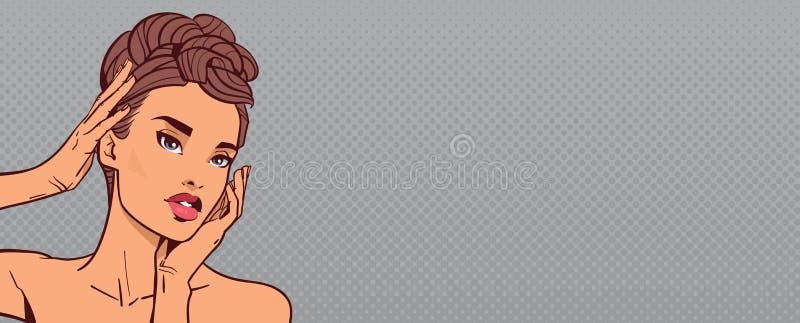 Elegant stående för härlig sinnlig flickaframsida av den attraktiva kvinnan på popArt Retro Background With Copy utrymme stock illustrationer