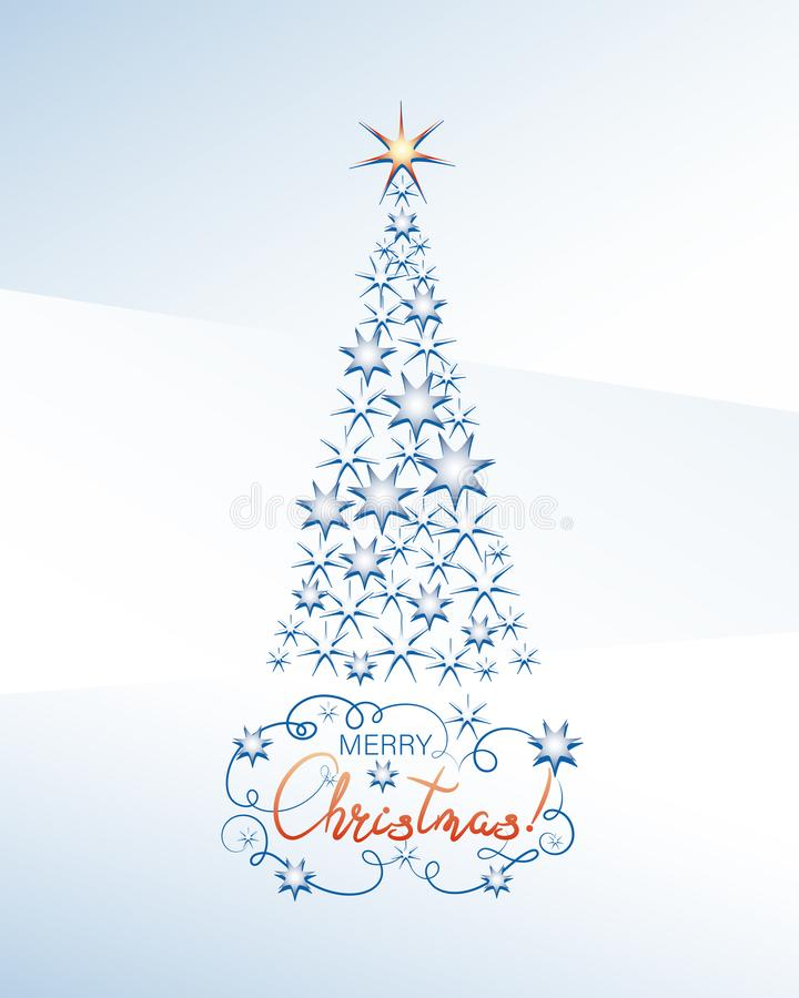Elegant star fir-tree on a light blue background. Merry Christmas! royalty free illustration