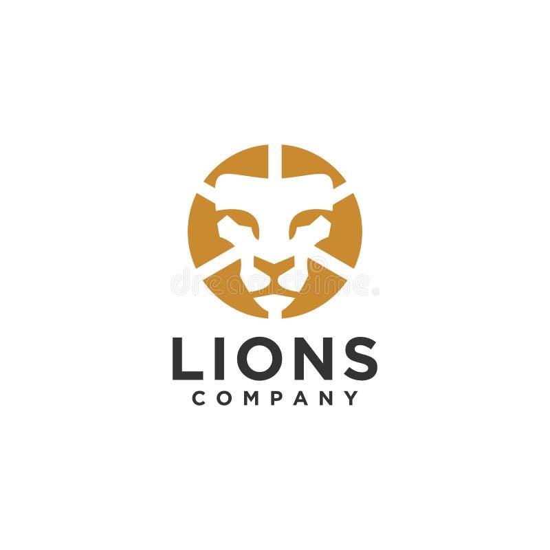 Elegant stil för Lion Logo design stock illustrationer