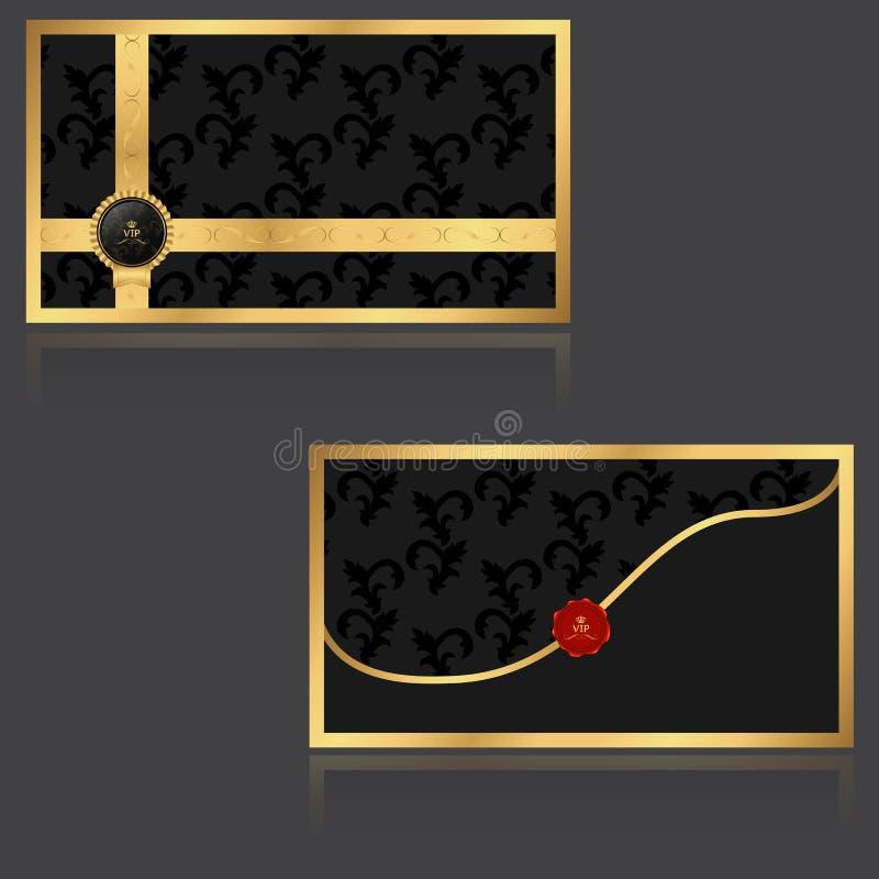 Elegant storgubbeinbjudankuvert med guld- blom- beståndsdelar och logo med en röd skyddsremsa stock illustrationer