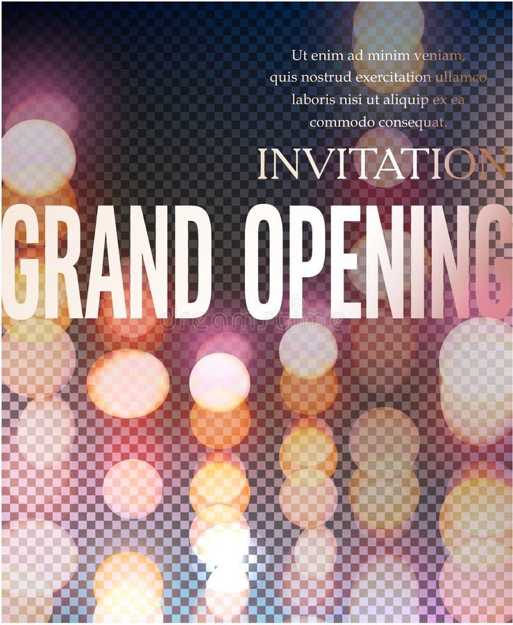 Elegant storslaget inbjudankort för öppna med bokehbeckground stock illustrationer