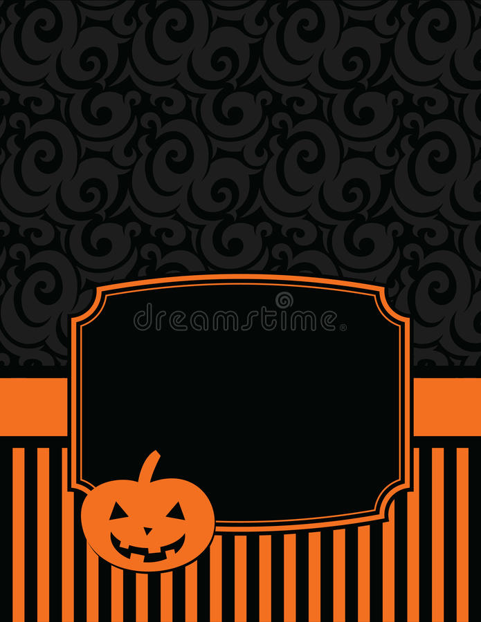 Elegant Striped Halloween Notecard with copy space royalty free illustration