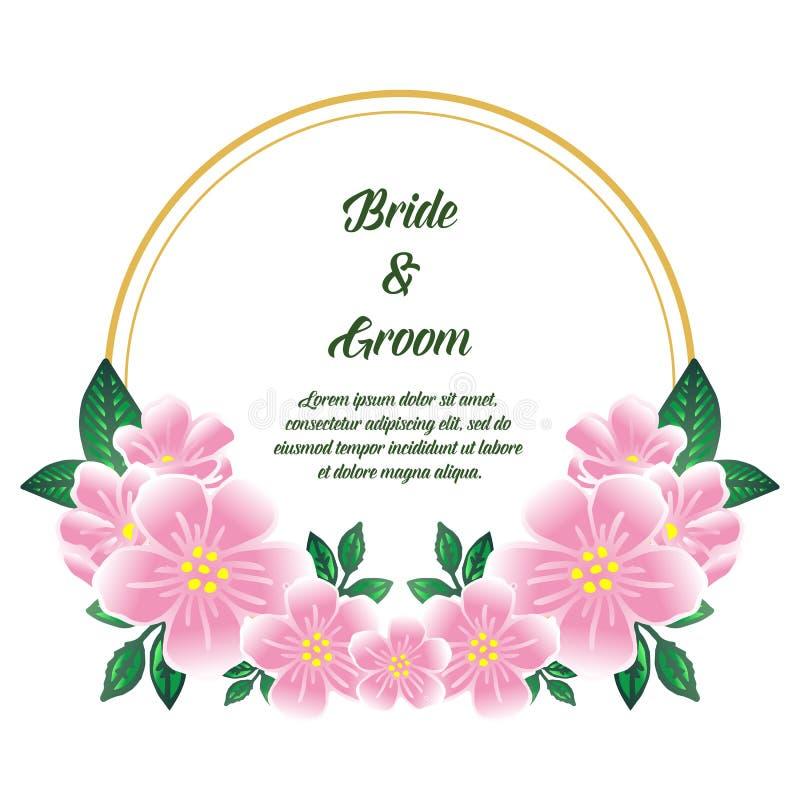 Elegant style pink flower frame, for wedding card or invitation bride and groom. Vector vector illustration