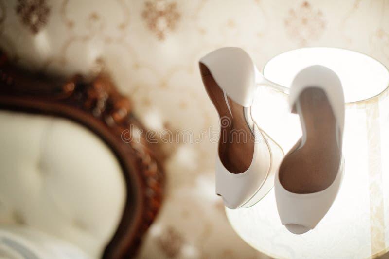 Elegant and stylish bridal shoes royalty free stock images