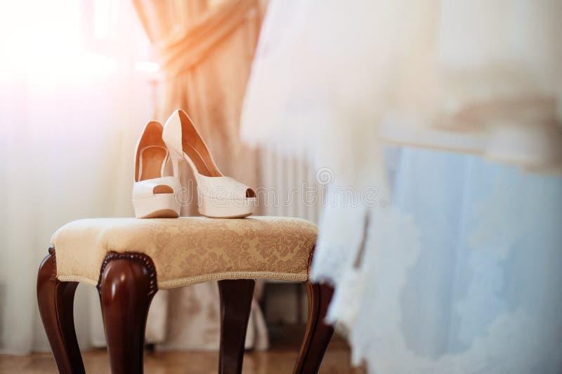 Elegant and stylish bridal shoes royalty free stock image