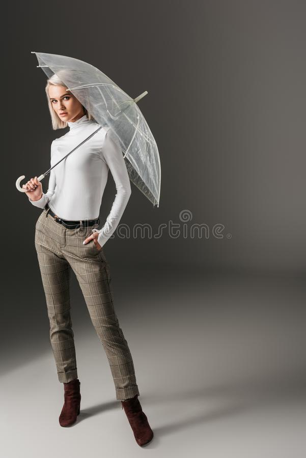 Elegant stylish girl in white turtleneck and grey pants posing with transparent umbrella. On grey royalty free stock photography