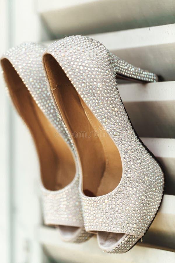 Elegant stylish grey silver wedding shoes royalty free stock images