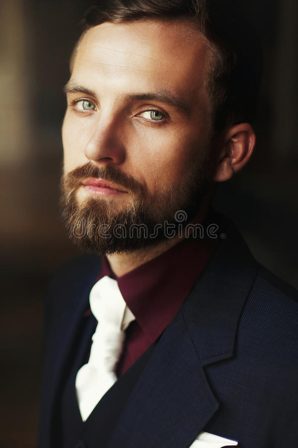 Elegant stylish handsome groom portrait. bearded man standing at royalty free stock photos