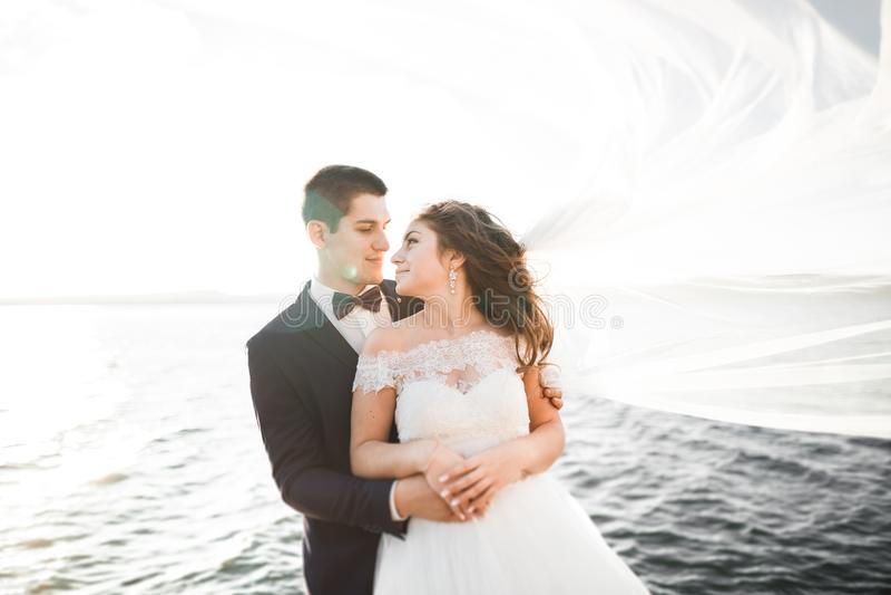 Elegant stylish happy wedding couple, bride, gorgeous groom on the background of sea and sky.  stock photo
