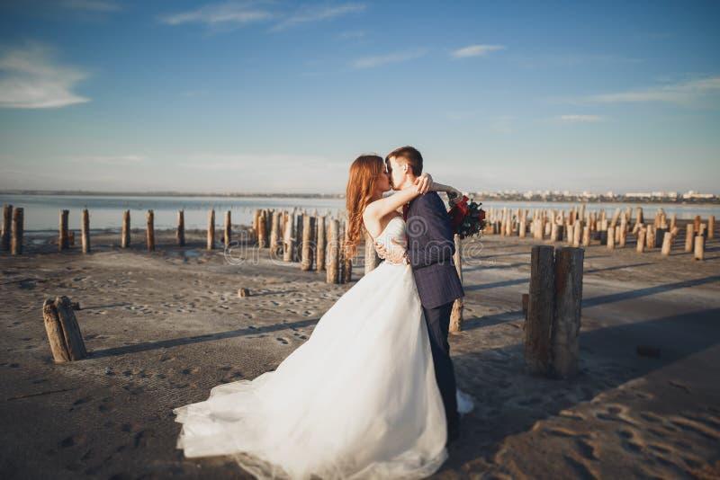 Elegant stylish happy wedding couple, bride, gorgeous groom on the background of sea and sky.  stock image