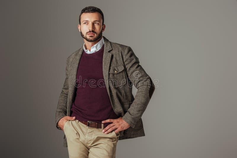 Elegant stylish man posing in autumn tweed jacket. Isolated on grey royalty free stock photo
