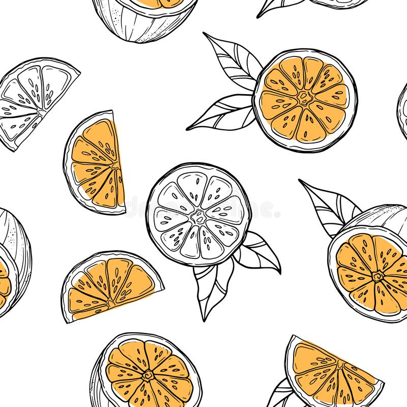 Elegant and stylish seamless pattern with oranges and leaves. Vector texture illustration. Elegant and stylish seamless pattern with oranges and leaves. Vector stock illustration