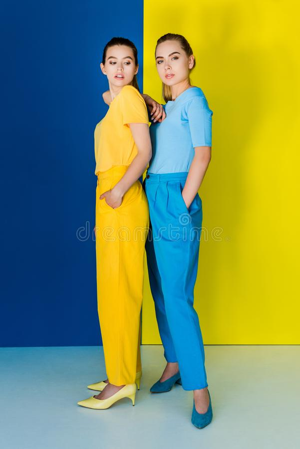 Elegant stylish women in contrasting garments posing on blue. And yellow background royalty free stock photos