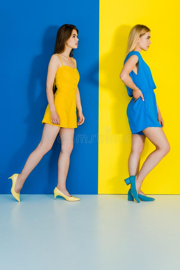 Elegant stylish women in summer garments on blue. And yellow background royalty free stock photos