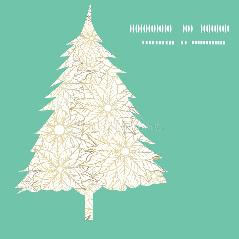 White and gold Christmas tree illustration greeting card design. Festive minimalist holiday season illustration. Vector stock illustration