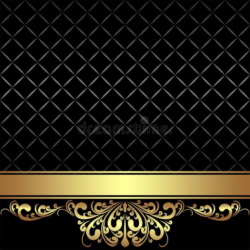 Elegant svart bakgrund med det guld- bandet vektor illustrationer
