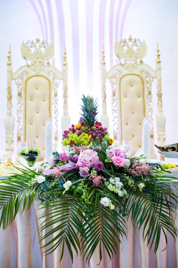 The elegant table with flowers flor wedding stock image