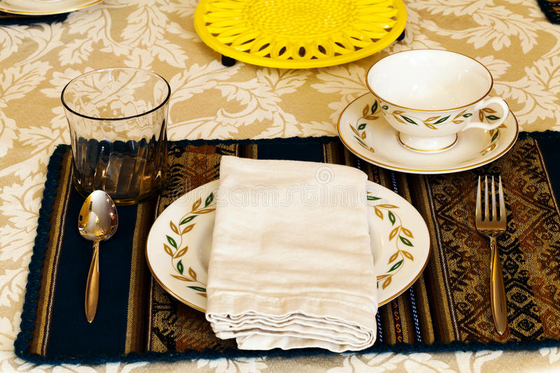 Elegant Table Place Setting For The Holiday Meal royalty free stock image