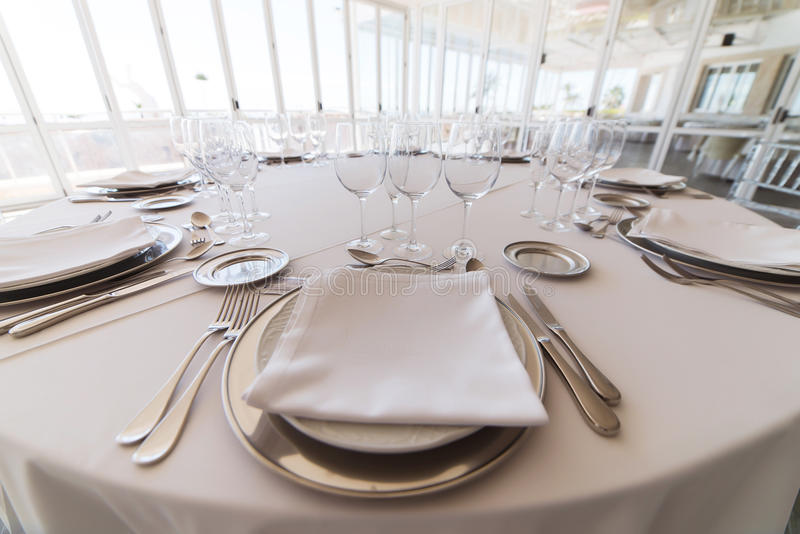 Elegant table set at fine restaurant royalty free stock photo