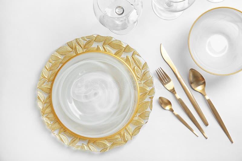 Elegant table setting on light background stock image