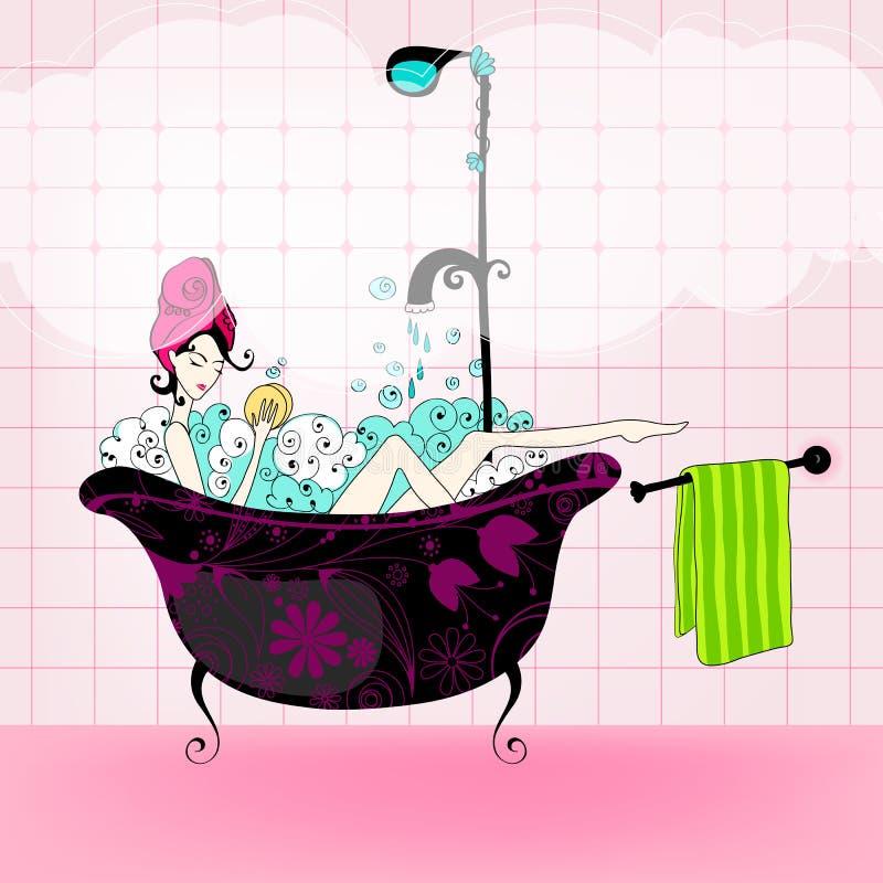 elegant tagande kvinna för bad stock illustrationer