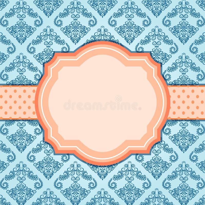 Elegant tappningblåttkort med den orange etiketten i mitt. vektor illustrationer