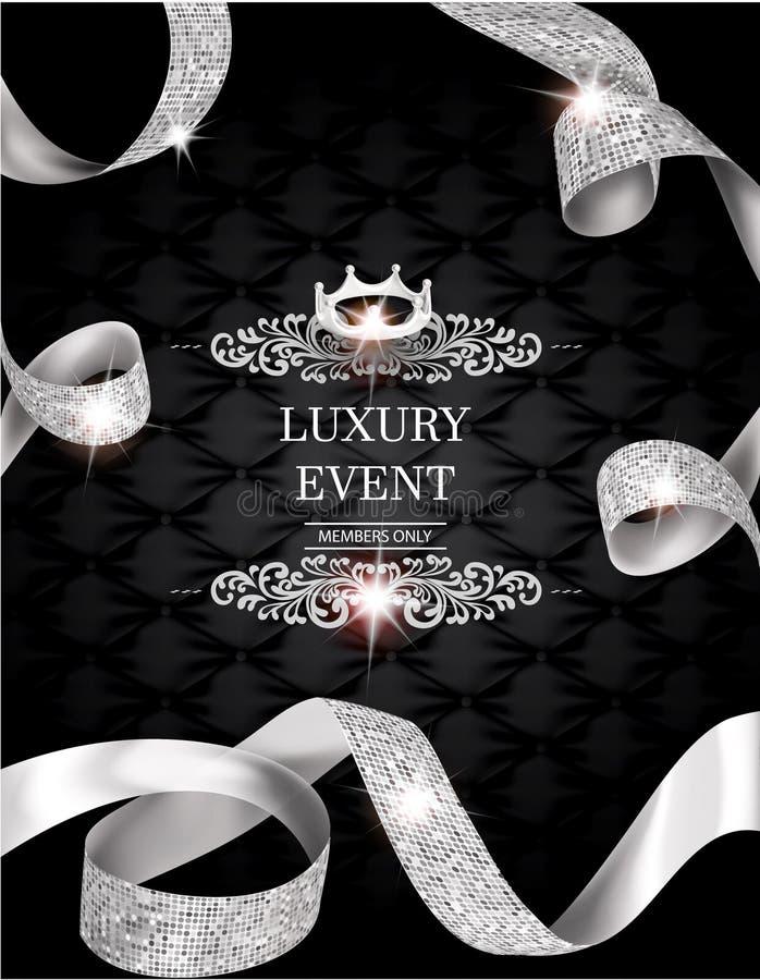 Elegant tappninginbjudankort med silke texturerad krullad guld- band och läderbakgrund royaltyfri illustrationer