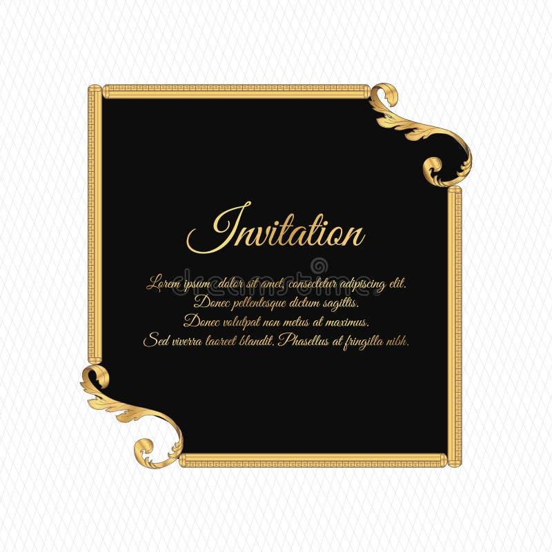 Elegant tappninginbjudankort, svart med en guld- filtrera prydnad i form av en fyrkantig ram Prydnaden göras i Victo vektor illustrationer