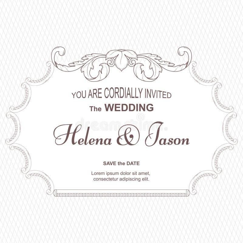Elegant tappningkort för inbjudan till bröllopet, vit Ramen göras av en prydnad i viktoriansk stil För design och stock illustrationer
