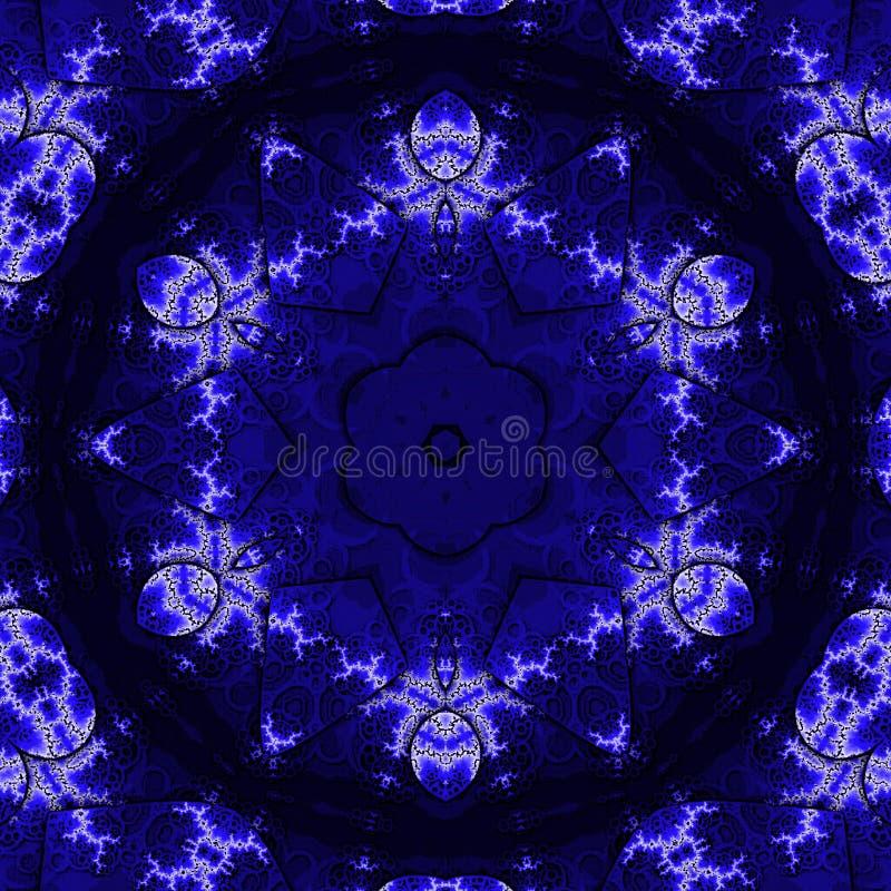 Elegant tappningtapetdesign Snöra åt modellen Retro victorian i indigoblå och blå färg stock illustrationer