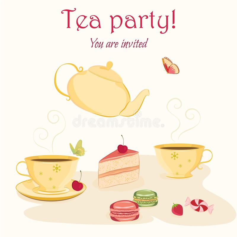 Elegant Tea Party Invitation Template With Teacups Stock Vector