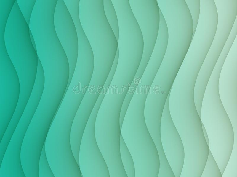 Elegant teal blue green horizontal curves lines abstract background design stock illustration