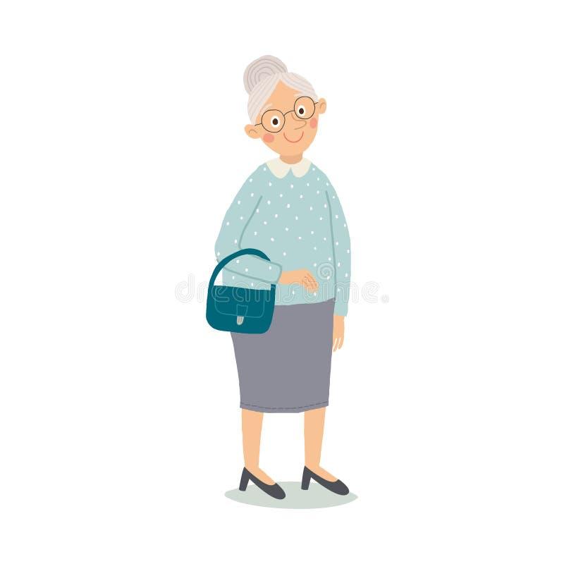 Elegant tecknad filmtecken för gammal kvinna Stilfull tidlös dam med exponeringsglas och handväskan Tecknad filmvektor hand drage stock illustrationer