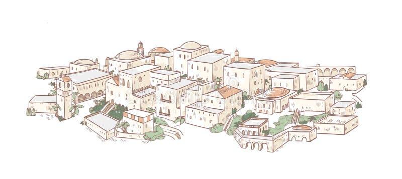Elegant teckning av den gamla staden med härliga byggnader av arabisk arkitektur Panoramautsikt av gator av Medina, Baghdad vektor illustrationer