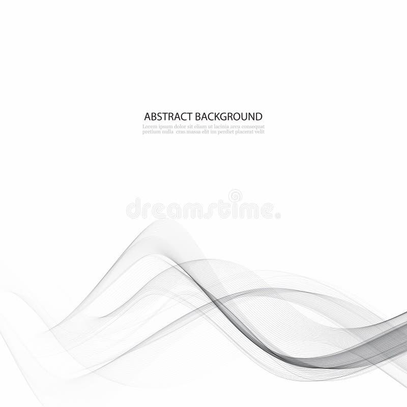 Elegant tekniskt avancerad bakgrund för swooshvågström slät grå modern grafisk mjuk kortmall för abstrakt begrepp vektor illustrationer